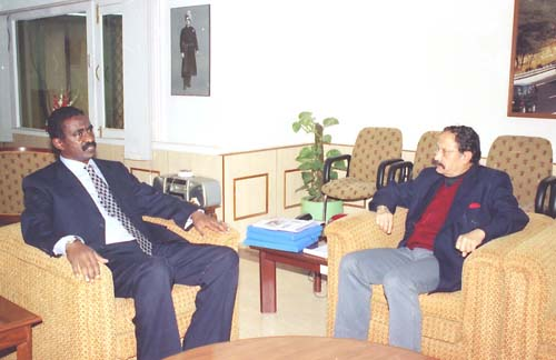 The Union Minister for Road Transport and Highways Maj. Gen. (Retd.) B.C. Khanduri meeting with the Transport Minister of Sudan Mr. Mohammed Elsammani Alwasila in New Delhi on December 29, 2003 (Monday).