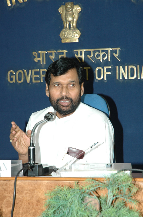 The Union Minister for Steel, Chemicals and Fertilizers, Shri Ram Vilas Paswan is addressing a press conference on achievements of his ministries in two years, in New Delhi on May 25, 2006