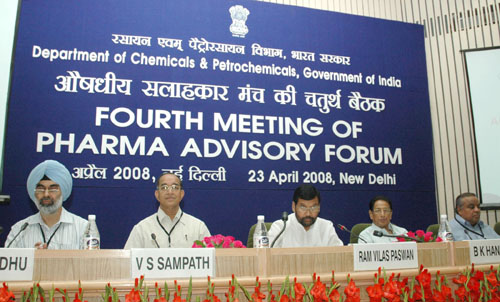 The Union Minister of Chemicals & Fertilizers and Steel, Shri Ram Vilas Paswan chairing the Fourth Meeting of the Pharmaceutical Advisory Forum, in New Delhi on April 23, 2008. The Minister of State for Chemicals & Fertilizers and Mines, Shri B.K. Handique and other dignitaries are also seen