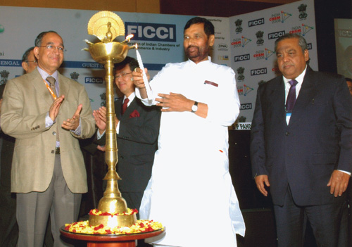 The Union Minister of Chemicals & Fertilizers and Steel, Shri Ram Vilas Paswan lighting the lamp to inaugurate the INDIA CHEM 2008, in Mumbai on October 20, 2008. The Secretary, Dept. of Chemicals & Petrochemicals, Shri V.S. Sampat and the Secretary, Dept. of Pharmaticals, Ministry of Chemicals & Fertilizers, Shri Ashok Kumar are also seen