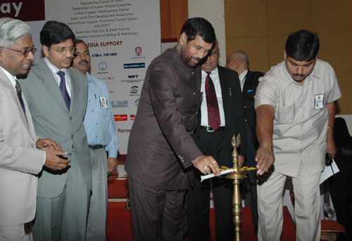 The Union Minister of Chemicals & Fertilizers and Steel, Shri Ram Vilas Paswan lighting the lamp to inaugurate the National Metallurgists Day 2008 Annual Technical Meeting 2008, at Greater Noida, U.P. on November 14, 2008