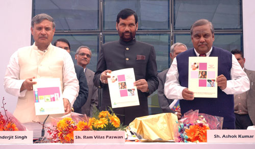 The Union Minister of Chemicals & Fertilizers and Steel, Shri Ram Vilas Paswan launching the New IDPL Brochure, at the foundation stone laying ceremony of the new State of Art Cephalosporin Block at IDPL Gurgaon Plant, in Gurgaon, Haryana on February 20, 2009. The Minister of State for Defence Production, Rao Inderjit Singh and the Secretary (Pharma), Shri Ashok Kumar are also seen