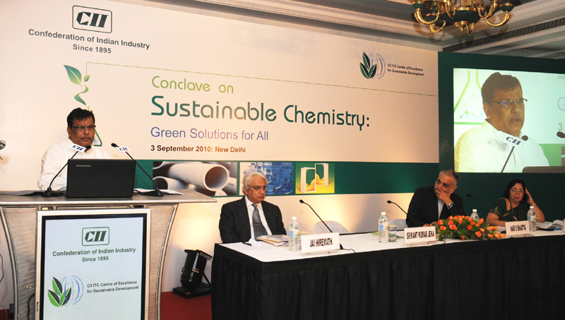 The Minister of State for Chemicals and Fertilizers, Shri Srikant Jena addressing the inaugural session of the Conclave on Sustainable Chemistry: Green Solutions for All organised by CII-ITC Centre of Excellence for Sustainable Development, in New Delhi on September 03, 2010
