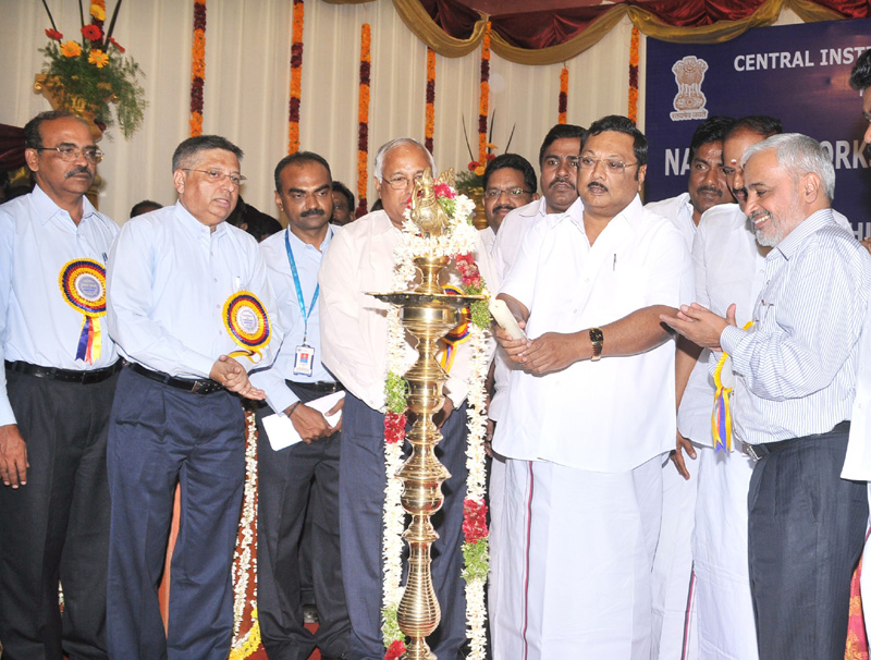 The Union Minister for Chemicals & Fertilizers, Shri M. K. Alagiri lighting the lamp to inaugurate the National Workshop on Plastics Waste Management, in Madurai on January 22, 2011