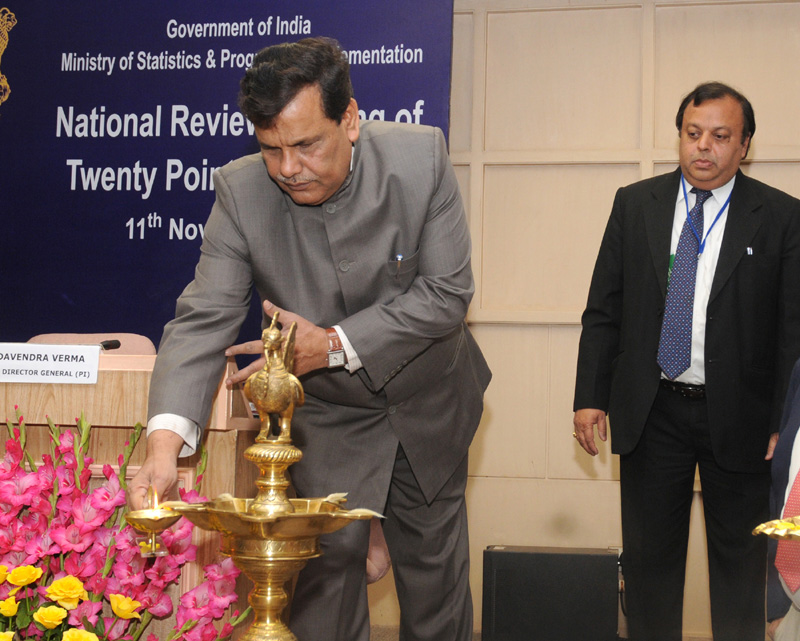 The Minister of State for Chemicals and Fertilizers, Shri Srikant Jena lighting the lamp to inaugurate the National Level Review Meeting of Twenty Point Programme, in New Delhi on November 11, 2011.