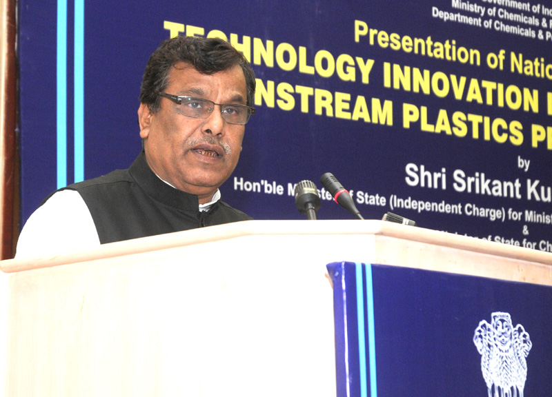 The Minister of State for Chemicals and Fertilizers, Shri Srikant Jena addressing at the presentation of the National Awards for Technology Innovation in Petrochemicals & Downstream Plastics Processing Industry (2010-2011), in New Delhi on November 28, 2011.