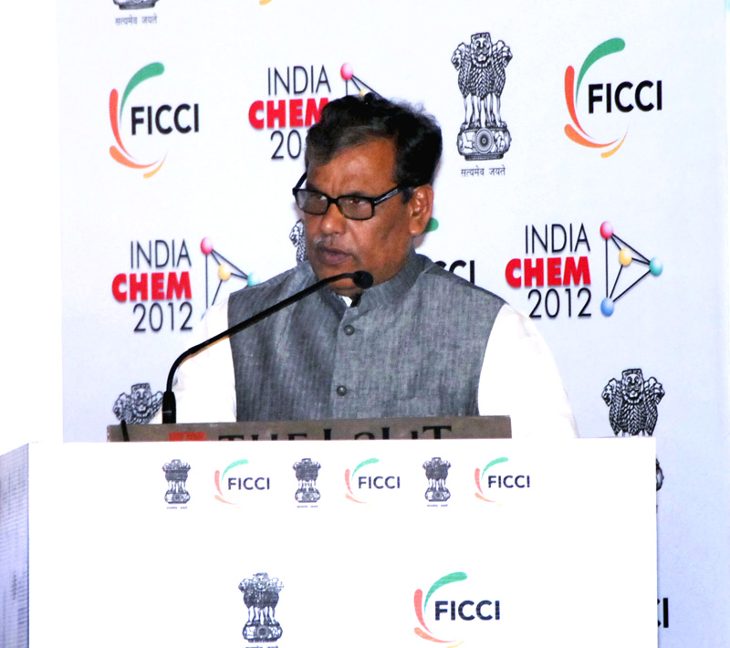 The Minister of State for Chemicals and Fertilizers, Shri Srikant Kumar Jena addressing at the inauguration of the 7th Edition of India CHEM 2012, at Mumbai on October 04, 2012