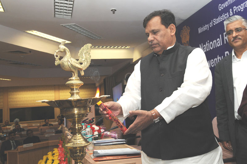 Minister of State for Chemicals and Fertilizers, Shri Srikant Kumar Jena lighting the lamp to inaugurate the National Level Review Meeting of Twenty Point Programme with States/UTs and Central Nodal Ministries, in New Delhi on February 27, 2013