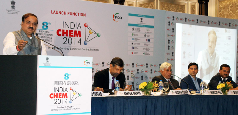 The Union Minister for Chemicals and Fertilizers, Shri Ananthkumar addressing at the launch of INDIA CHEM 2014, organised jointly by the Department of Chemicals and Petrochemicals, Government of India and FICCI, in Mumbai on July 04, 2014. The Secretary, Chemicals & Petrochemicals, Shri Inderjit Pal and the Chairman, FICCI National Chemical Committee, Shri Deepak Mehta are also seen
