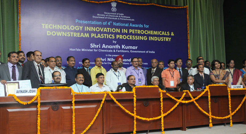 The Union Minister for Chemicals and Fertilizers, Shri Ananthkumar presented the 4th National Awards for Technology Innovation in Petrochemicals & Downstream Plastic Processing Industry 2013-14, under the aegis of National Policy on Petrochemicals, at a function, in New Delhi on July 17, 2014. The Minister of State for Chemicals and Fertilizers, Shri Nihalchand is also seen