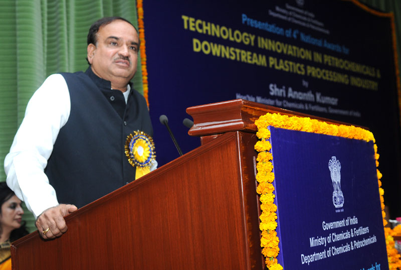 The Union Minister for Chemicals and Fertilizers, Shri Ananthkumar addressing at the presentation of the 4th National Awards for Technology Innovation in Petrochemicals & Downstream Plastic Processing Industry 2013-14, under the aegis of National Policy on Petrochemicals, in New Delhi on July 17, 2014