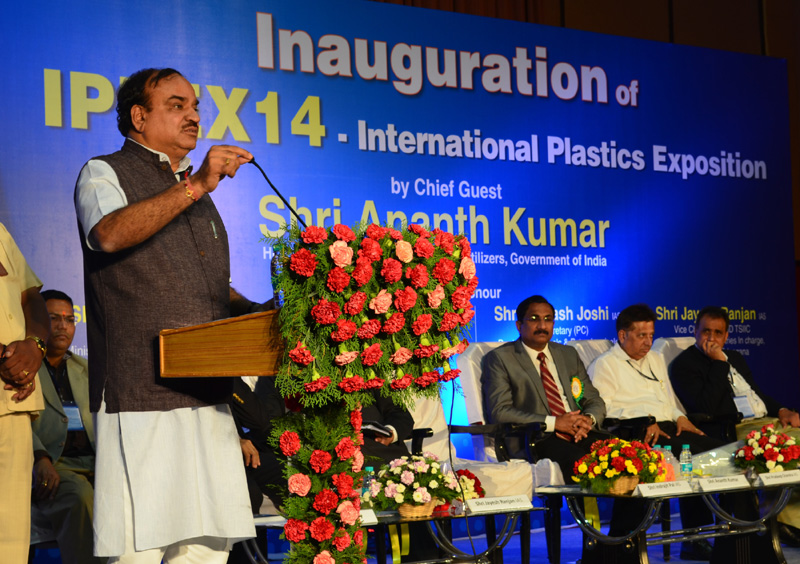 The Union Minister for Chemicals and Fertilizers, Shri Ananthkumar addressing at the inauguration of the IPLEX 14-International Plastics Exposition, in Hyderabad on August 08, 2014