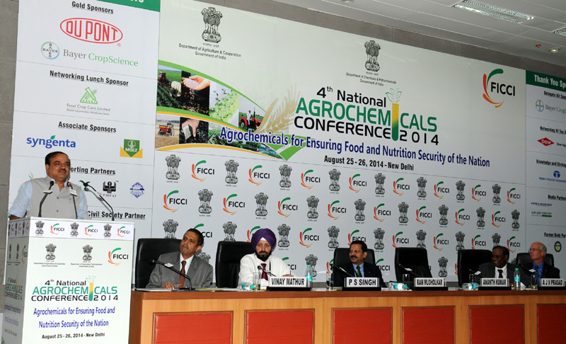The Union Minister for Chemicals and Fertilizers, Shri Ananthkumar delivering the inaugural address of the '4th National Conference on Agrochemicals, 2014', in New Delhi on August 25, 2014