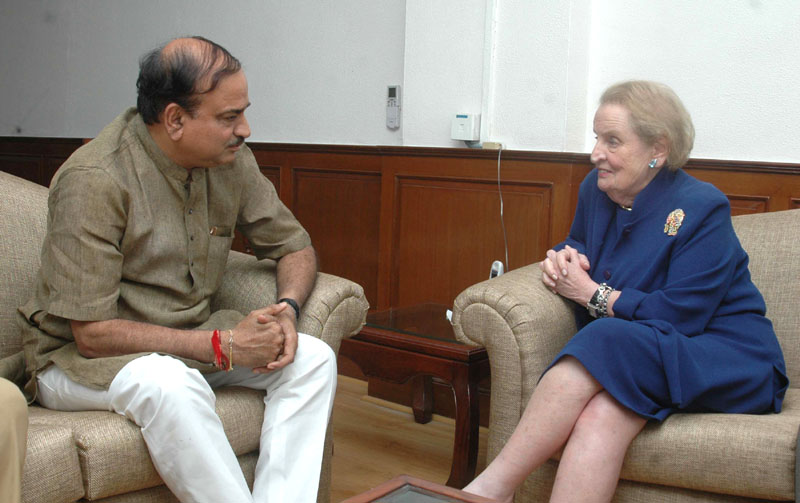 The Chairman, Albright Stonebridge Group and an Ex United States Secretary of State, Ms. Madeleine K. Albright meeting the Union Minister for Chemicals and Fertilizers, Shri Ananthkumar, in New Delhi on September 10, 2014