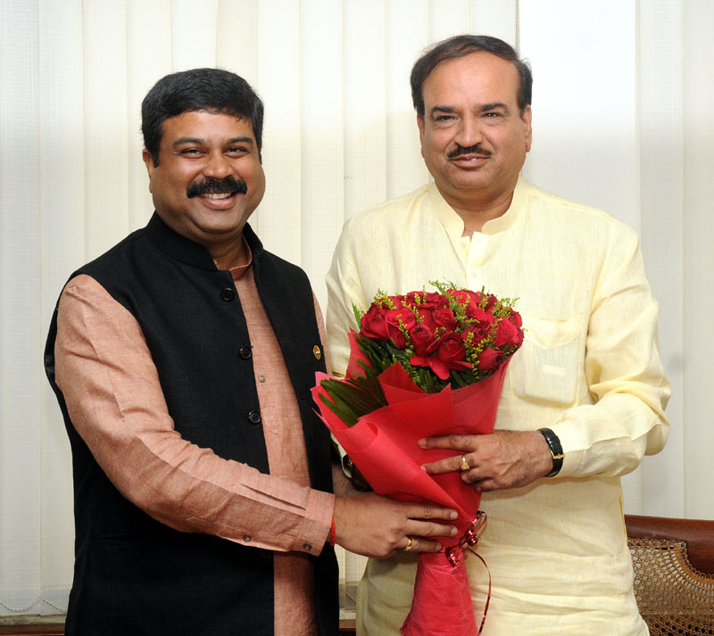 The Minister of State (Independent Charge) for Petroleum and Natural Gas, Shri Dharmendra Pradhan meeting the Union Minister for Chemicals and Fertilizers, Shri Ananthkumar, to discuss on Talcher Fertiliser Project, in New Delhi on September 26, 2014.