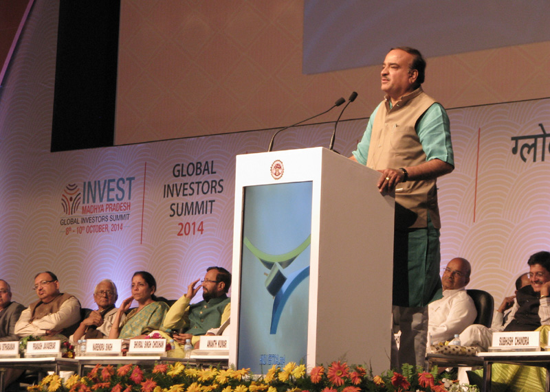"The Union Minister for Chemicals and Fertilizers, Shri Ananthkumar addressing the gathering at the ""Invest Madhya Pradesh - Global Investors Summit 2014"", at Indore, Madhya Pradesh on October 10, 2014"