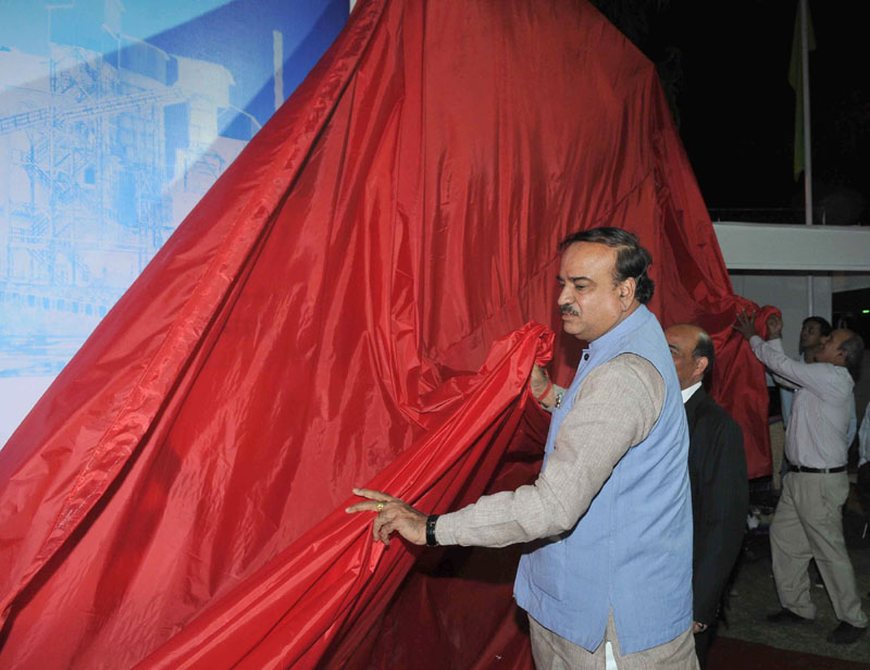 "The Union Minister for Chemicals and Fertilizers, Shri Ananthkumar unveiling the World's largest GFRG (Glass Fiber Reinforced Gypsum) Panel – ""Gypwall"", at the India International Trade Fair, 2014, at Pragati Maidan, in New Delhi on November 14, 2014"