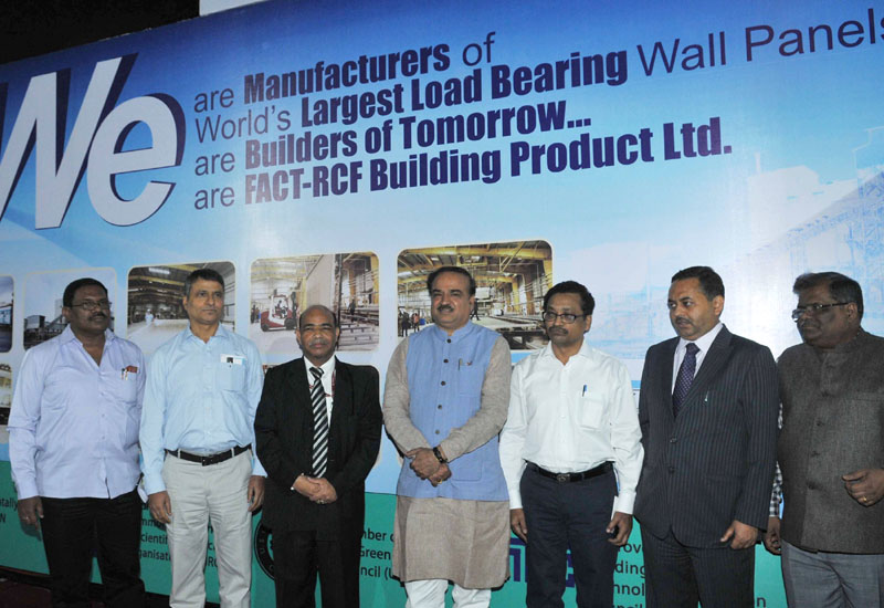 "The Union Minister for Chemicals and Fertilizers, Shri Ananthkumar unveiled the World's largest GFRG (Glass Fiber Reinforced Gypsum) Panel – ""Gypwall"", at the India International Trade Fair, 2014, at Pragati Maidan, in New Delhi on November 14, 2014"