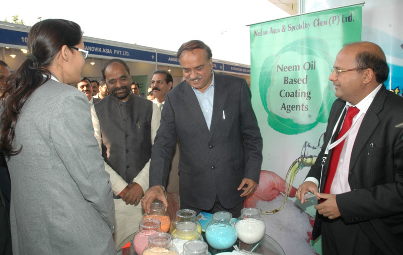 The Union Minister for Chemicals and Fertilizers, Shri Ananthkumar and the Minister of State for Chemicals & Fertilizers, Shri Hansraj Gangaram Ahir visiting at the Fertilizer Association of India annual seminar 2014 on 'Unshackling the Fertilizer Sector', in New Delhi on December 10, 2014