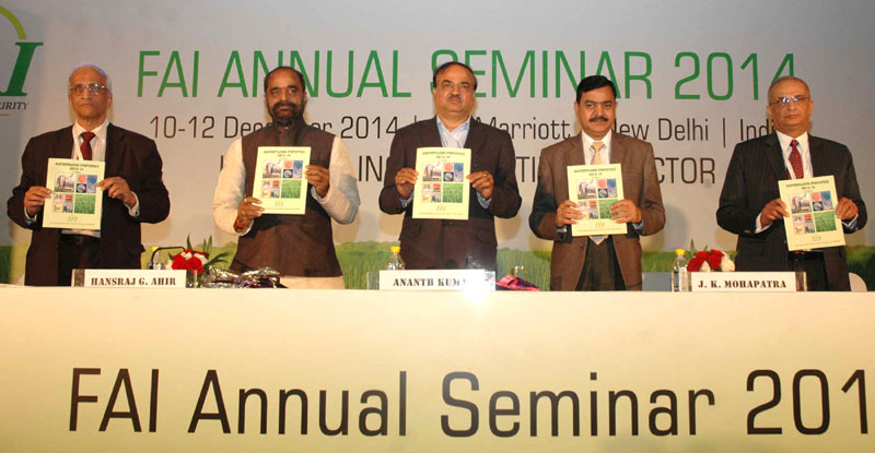 The Union Minister for Chemicals and Fertilizers, Shri Ananthkumar and the Minister of State for Chemicals & Fertilizers, Shri Hansraj Gangaram Ahir releasing a publication at the inauguration of the Fertilizer Association of India annual seminar 2014 on 'Unshackling the Fertilizer Sector', in New Delhi on December 10, 2014