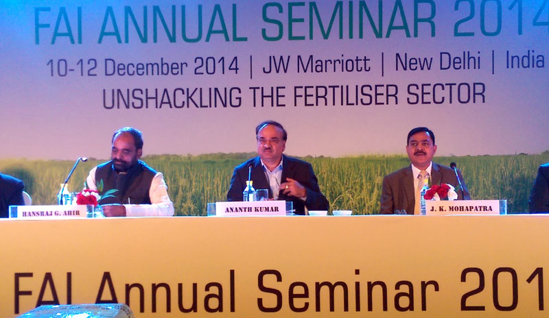 The Union Minister for Chemicals and Fertilizers, Shri Ananthkumar delivering his inaugural address at the Fertilizer Association of India annual seminar on 'Unshackling the Fertilizer Sector', in New Delhi on December 10, 2014. The Minister of State for Chemicals & Fertilizers, Shri Hansraj Gangaram Ahir and the Secretary for Chemicals and Fertilisers, Shri J.K. Mohapatra are also seen