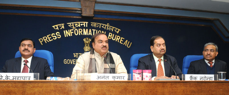 The Union Minister for Chemicals and Fertilizers, Shri Ananthkumar addressing a press Conference, in New Delhi on January 07, 2015. The Director General (M&C), Press Information Bureau, Shri A.P. Frank Noronha is also seen.