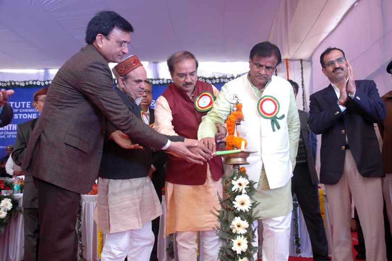 The Union Minister for Chemicals and Fertilizers, Shri Ananthkumar lighting the lamp at the foundation stone laying ceremony of the Boys & Girls Hostel of Central Institute of Plastic Engineering and Technology (CIPET), at Sonipat, in Haryana on January 20, 2015