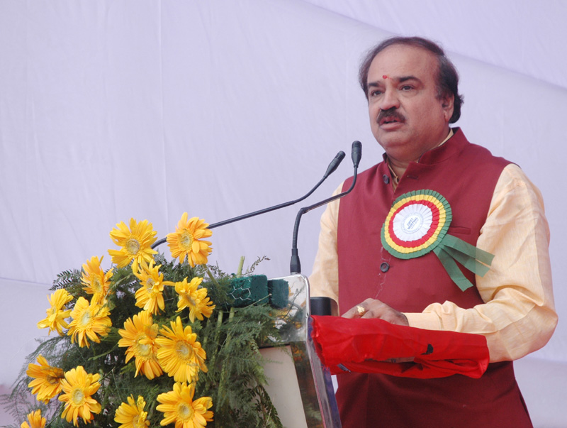 The Union Minister for Chemicals and Fertilizers, Shri Ananthkumar addressing at the foundation stone laying ceremony of the Boys & Girls Hostel of Central Institute of Plastic Engineering and Technology (CIPET), at Sonipat, in Haryana on January 20, 2015.