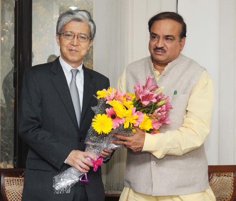 The Ambassador of Japan to India, Mr. Yasukuni Enoki calls on the Union Minister for Chemicals and Fertilizers, Shri Ananthkumar, in New Delhi on February 12, 2015.