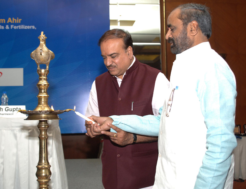 "The Union Minister for Chemicals and Fertilizers, Shri Ananthkumar and the Minister of State for Chemicals & Fertilizers, Shri Hansraj Gangaram Ahir lighting the lamp at the launch of the ""2015 – Year of Active Pharmaceutical Ingredients"", in New Delhi on February 25, 2015."