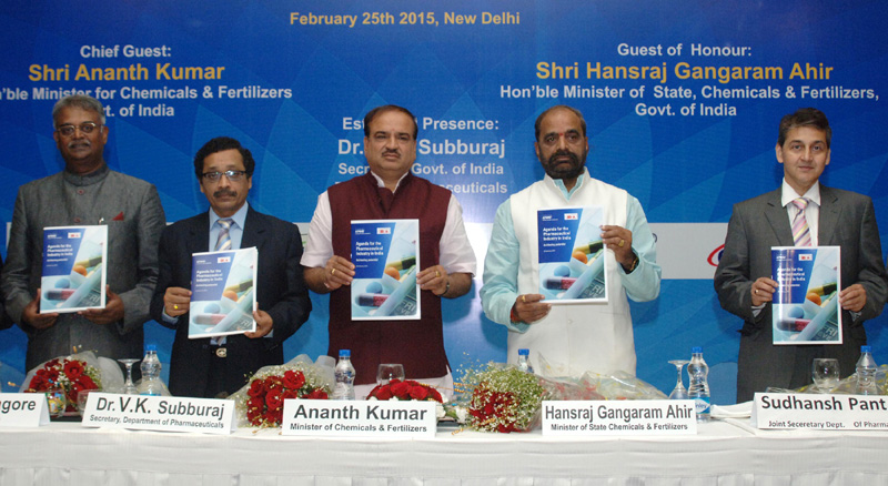 "The Union Minister for Chemicals and Fertilizers, Shri Ananthkumar releasing the Agenda for the Pharmaceutical Industry in India, at the launch of the ""2015 – Year of Active Pharmaceutical Ingredients"", in New Delhi on February 25, 2015. The Minister of State for Chemicals & Fertilizers, Shri Hansraj Gangaram Ahir is also seen."