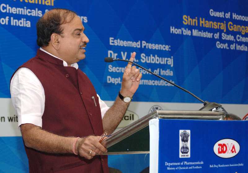 "The Union Minister for Chemicals and Fertilizers, Shri Ananthkumar addressing at the launch of the ""2015 – Year of Active Pharmaceutical Ingredients"", in New Delhi on February 25, 2015."