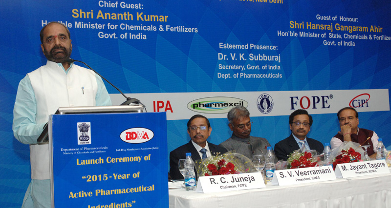 "The Minister of State for Chemicals & Fertilizers, Shri Hansraj Gangaram Ahir addressing at the launch of the ""2015 – Year of Active Pharmaceutical Ingredients"", in New Delhi on February 25, 2015. The Union Minister for Chemicals and Fertilizers, Shri Ananthkumar is also seen."