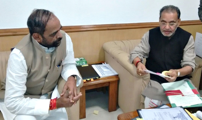 The Union Minister for Agriculture, Shri Radha Mohan Singh meeting the Minister of State for Chemicals & Fertilizers, Shri Hansraj Gangaram Ahir to discuss the imbalanced use of Urea by Fertilizers, in New Delhi on March 04, 2015