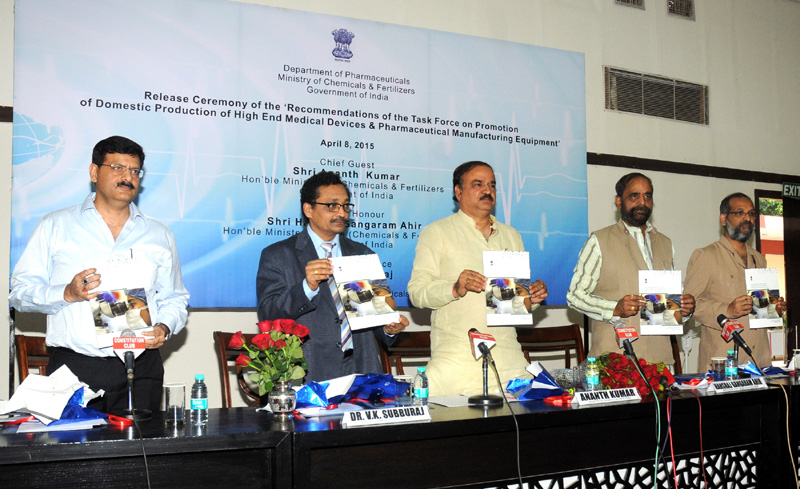 The Union Minister for Chemicals and Fertilizers, Shri Ananth Kumar releasing the Report of Task Force on High End Medical Devices and Pharmaceutical Manufacturing Equipment in the Country, in New Delhi on April 08, 2015. The Minister of State for Chemicals & Fertilizers, Shri Hansraj Gangaram Ahir, the Secretary, Department of Pharmaceutical, Shri V.K. Subburaj and other dignitaries are also seen.