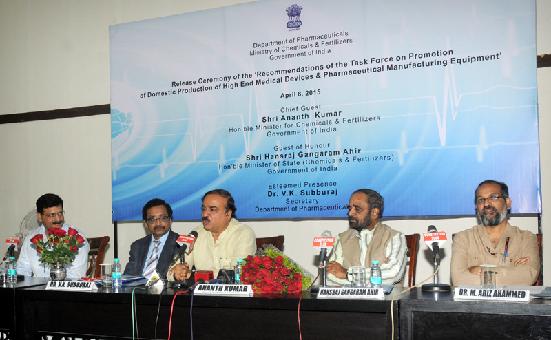 The Union Minister for Chemicals and Fertilizers, Shri Ananth Kumar addressing at the release of the Report of Task Force on High End Medical Devices and Pharmaceutical Manufacturing Equipment in the Country, in New Delhi on April 08, 2015. The Minister of State for Chemicals & Fertilizers, Shri Hansraj Gangaram Ahir, the Secretary, Department of Pharmaceutical, Shri V.K. Subburaj and other dignitaries are also seen.