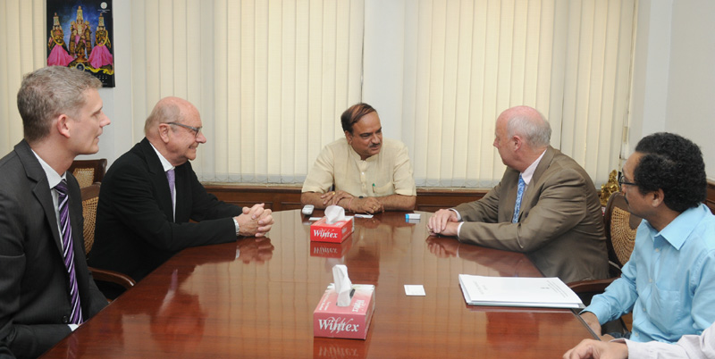 The Ambassador of Denmark to India, Mr. Frddy Svane meeting the Union Minister for Chemicals and Fertilizers, Shri Ananth Kumar, in New Delhi on April 22, 2015.