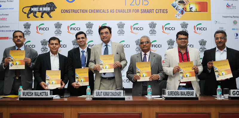 """The Secretary, Department of Chemical & Petrochemical, Shri Surjit Kumar Chaudhary releasing the """"Knowledge & Strategy Paper on Construction Chemicals"""", at the 6th National Conference on Construction Chemicals 2015, on the theme 'Construction Chemicals Industry as Enabler for Smart Cities', in New Delhi on May 08, 2015."""