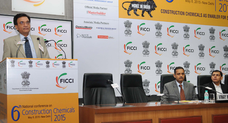 The Secretary, Department of Chemical & Petrochemical, Shri Surjit Kumar Chaudhary addressing at the 6th National Conference on Construction Chemicals 2015, on the theme 'Construction Chemicals Industry as Enabler for Smart Cities', in New Delhi on May 08, 2015.