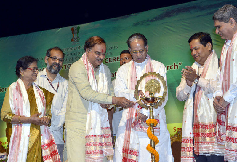 The Union Minister for Chemicals and Fertilizers, Shri Ananth Kumar lighting the lamp at the foundation stone laying ceremony of the National Institute of Pharmaceutical Education and Research, in Guwahati on May 30, 2015. The Chief Minister of Assam, Shri Tarun Gogoi, the Minister of State for Youth Affairs and Sports (Independent Charge), Shri Sarbananda Sonowal and the MP, Guwahati, Smt. Bijoya Chakrabarty are also seen.