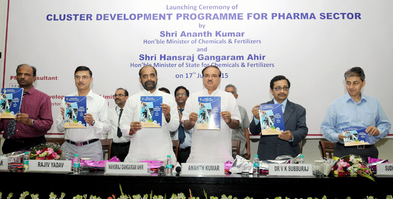 "The Union Minister for Chemicals and Fertilizers, Shri Ananth Kumar launching the ""Cluster Development Programme for Pharma Sector"", in New Delhi on June 17, 2015. The Minister of State for Chemicals & Fertilizers, Shri Hansraj Gangaram Ahir, the Secretary, Department of Pharmaceutical, Shri V.K. Subburaj and other dignitaries are also seen."