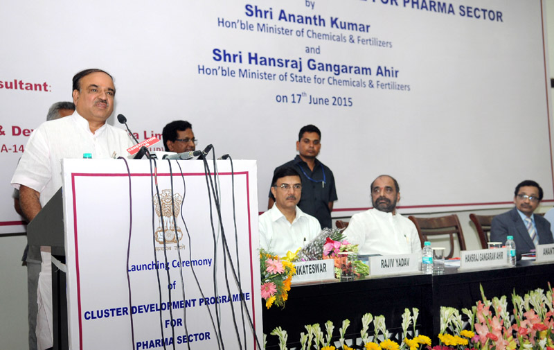 """The Union Minister for Chemicals and Fertilizers, Shri Ananth Kumar addressing at the launch of the """"Cluster Development Programme for Pharma Sector"""", in New Delhi on June 17, 2015. The Minister of State for Chemicals & Fertilizers, Shri Hansraj Gangaram Ahir and the Secretary, Department of Pharmaceutical, Shri V.K. Subburaj are also seen."""