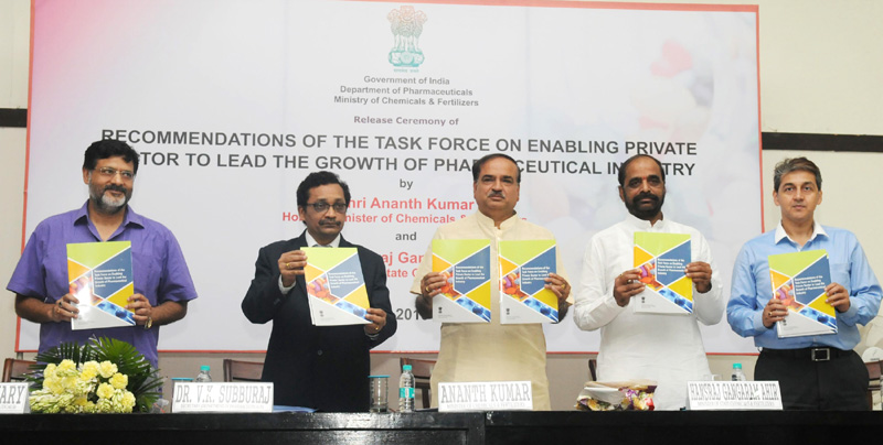 The Union Minister for Chemicals and Fertilizers, Shri Ananth Kumar and the Minister of State for Chemicals & Fertilizers, Shri Hansraj Gangaram Ahir releasing the report of the Task Force on Enabling the Private Sector to Lead the Growth of Pharmaceutical Sector, in New Delhi on June 22, 2015. The Secretary, Department of Pharmaceutical, Shri V.K. Subburaj and other dignitaries are also seen.