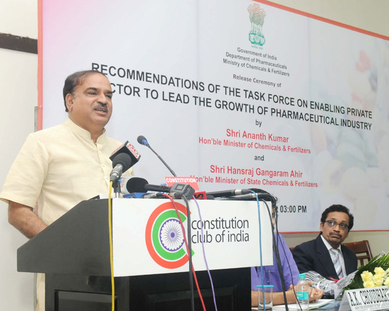 The Union Minister for Chemicals and Fertilizers, Shri Ananth Kumar addressing at the release of the report of the Task Force on Enabling the Private Sector to Lead the Growth of Pharmaceutical Sector, in New Delhi on June 22, 2015. The Secretary, Department of Pharmaceutical, Shri V.K. Subburaj is also seen.