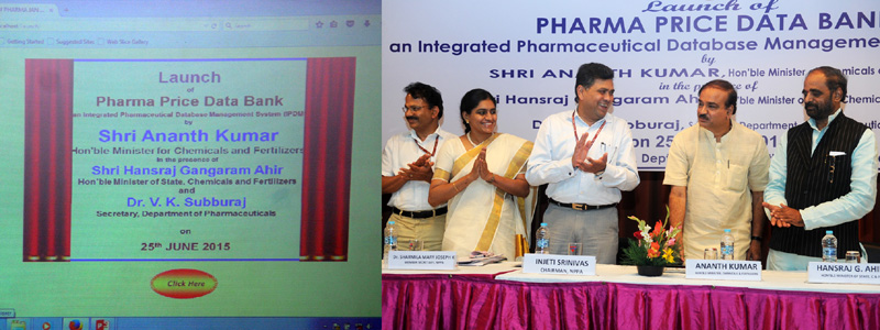 "The Union Minister for Chemicals and Fertilizers, Shri Ananth Kumar launching the ""Pharma Price Data Bank"" an Integrated Pharmaceutical Database Management System (IPDM), in New Delhi on June 25, 2015. The Minister of State for Chemicals & Fertilizers, Shri Hansraj Gangaram Ahir and other dignitaries are also seen."