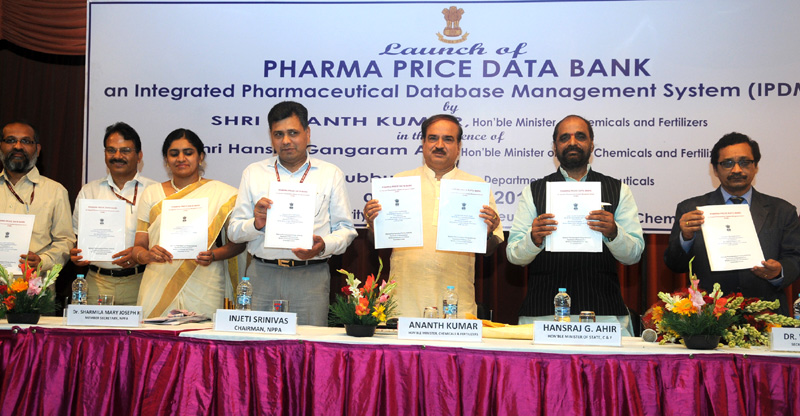 "The Union Minister for Chemicals and Fertilizers, Shri Ananth Kumar launching the ""Pharma Price Data Bank"" an Integrated Pharmaceutical Database Management System (IPDM), in New Delhi on June 25, 2015. The Minister of State for Chemicals & Fertilizers, Shri Hansraj Gangaram Ahir, the Secretary, Department of Pharmaceuticals, Dr. V.K. Subburaj and other dignitaries are also seen"