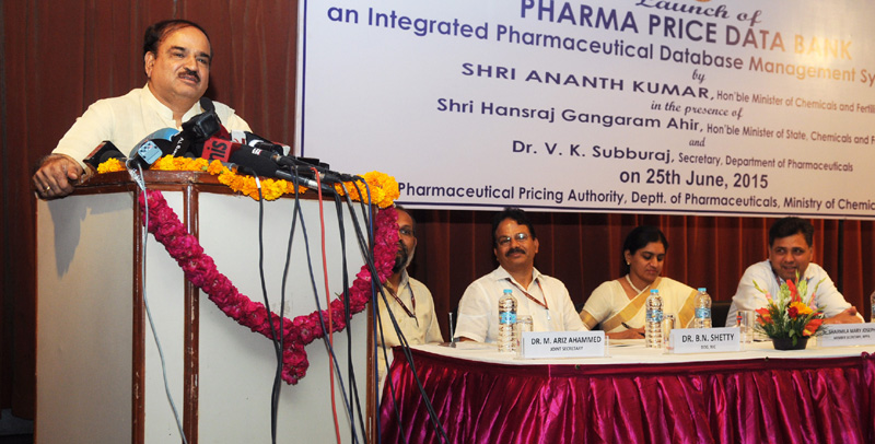 "The Union Minister for Chemicals and Fertilizers, Shri Ananth Kumar addressing at the launch of the ""Pharma Price Data Bank"" an Integrated Pharmaceutical Database Management System (IPDM), in New Delhi"