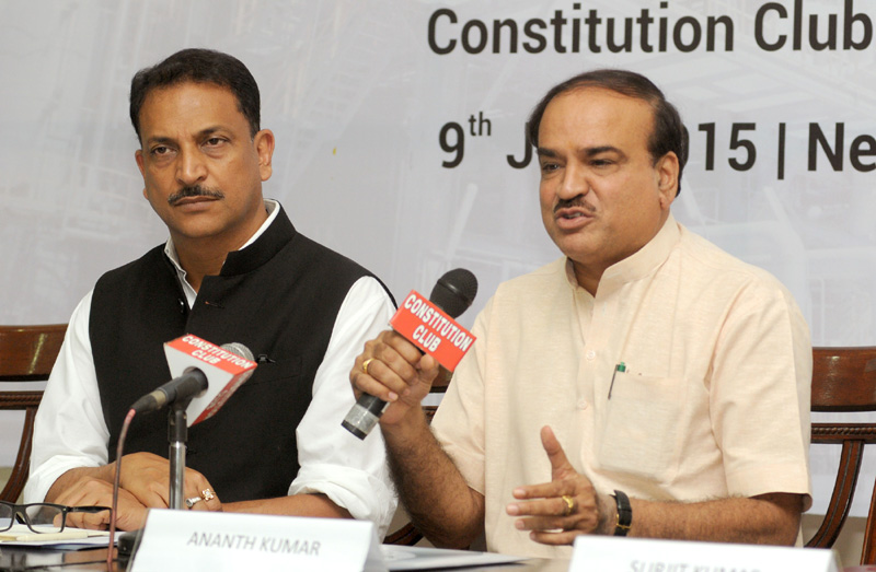 The Union Minister for Chemicals and Fertilizers, Shri Ananth Kumar addressing at the signing ceremony of an MoU between Ministry of Skill Dev & Entrepreneurship and Ministry of Chemicals & Fertilizers on Skill Development, in New Delhi on July 09, 2015. The Minister of State for Skill Development & Entrepreneurship (Independent Charge) and Parliamentary Affairs, Shri Rajiv Pratap Rudy is also seen.