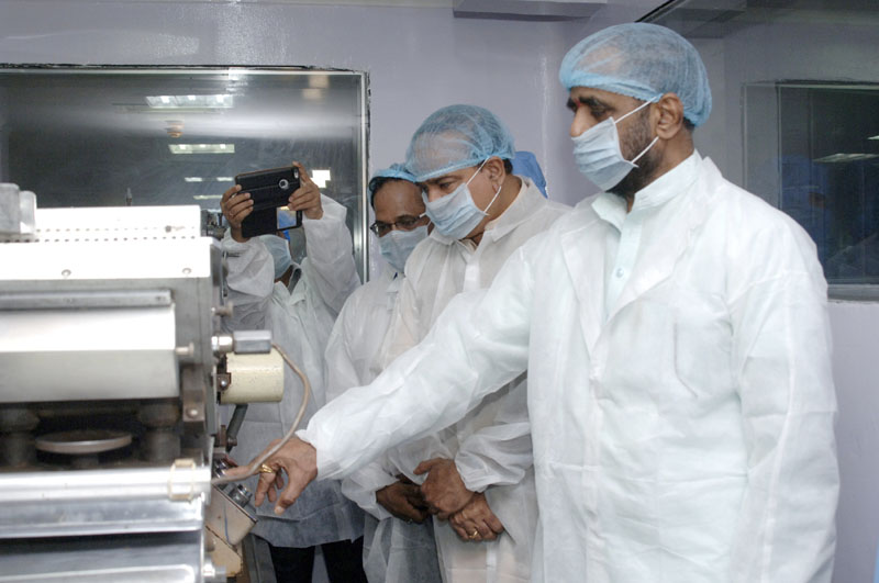 The Union Minister for Chemicals and Fertilizers, Shri Ananth Kumar along with the Minister of State for Chemicals & Fertilizers, Shri Hansraj Gangaram Ahir visiting at the inauguration of the Modernized Tablet Section of Indian Drugs & Pharmaceuticals Limited (IDPL), Gurgaon Plant, in Gurgaon, Haryana on August 05, 2015.