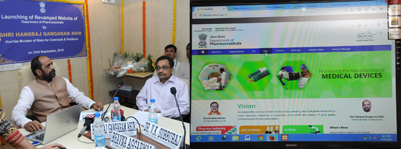 The Minister of State for Chemicals & Fertilizers, Shri Hansraj Gangaram Ahir launching the revamped website of Department of Pharmaceuticals, in New Delhi on September 23, 2015. The Secretary, Department of Pharmaceutical, Shri V.K. Subburaj is also seen.